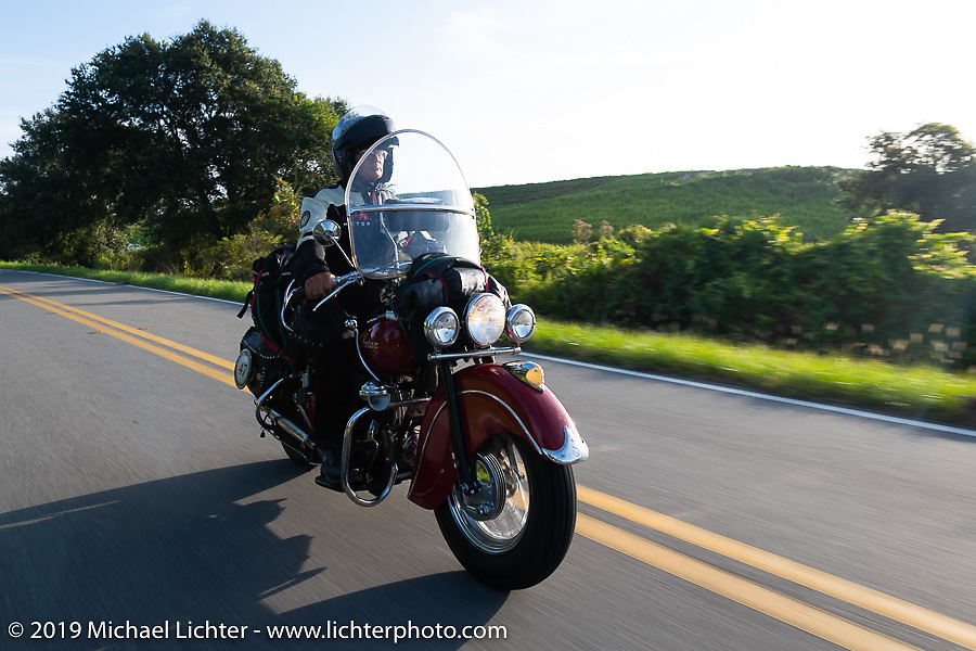 Kerry Patchett riding his 1947 Indian Chief in the Cross Country Chase motorcycle endurance run from Sault Sainte Marie, MI to Key West, FL. (for vintage bikes from 1930-1948). Stage-9 covered 259 miles from Lakeland, FL to Miami, FL USA. Saturday, September 14, 2019. Photography ©2019 Michael Lichter.