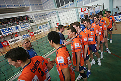 Players of ACH Volley congratulate Salonit Anhovo after 4th and final match of Slovenian Voleyball  Championship  between OK Salonit Anhovo (Kanal) and ACH Volley (from Bled), on April 23, 2008, in Kanal, Slovenia. The match was won by ACH Volley (3:1) and it became Slovenian Championship Winner. (Photo by Vid Ponikvar / Sportal Images)/ Sportida)