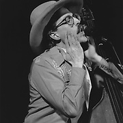 Frederick LaBour better known by his stage name Too Slim, is a Grammy award-winning American musician, best known for his work with the Western swing musical and comedy group Riders in the Sky. In performance at Sanders Theatre, Cambridge, MA
