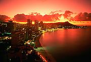 Diamond Head, Sunset, Waikiki, Oahu, Hawaii, USA<br />