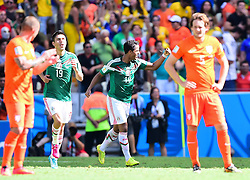 29.06.2014, Castelao, Fortaleza, BRA, FIFA WM, Niederlande vs Mexico, Achtelfinale, im Bild Oribe Peralta (Mexiko) und Giovani Dos Santos (Mexiko) Jubeln // during last sixteen match between Netherlands and Mexico of the FIFA Worldcup Brazil 2014 at the Castelao in Fortaleza, Brazil on 2014/06/29. EXPA Pictures © 2014, PhotoCredit: EXPA/ fotogloria/ Best Photo Agency<br /> <br /> *****ATTENTION - for AUT, FRA, POL, SLO, CRO, SRB, BIH, MAZ only*****