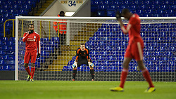 LONDON, ENGLAND - Wednesday, February 1, 2012: Liverpool's goalkeeper Tyrell Belford looks dejected as Tottenham Hotspur score the opening goal during the NextGen Series Quarter-Final match at White Hart Lane. (Pic by David Rawcliffe/Propaganda)