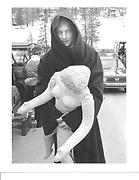 Lord Xan Rufus Isaacs dressed aas a monk in st Mauritz. 1986. Dangerous Sports Club Ski Race. © Copyright Photograph by Dafydd Jones 66 Stockwell Park Rd. London SW9 0DA Tel 020 7733 0108 www.dafjones.com
