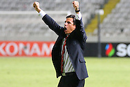 Chris Coleman, the Wales manager celebrates his teams win towards the Wales fans  at the end of match , if Wales qualify for France then large numbers are expected to travel as Wales look to qualify for a major tournament for the 1st time since 1958. UEFA EURO 2016 Qualifier between Cyprus and Wales at GPS Stadium in Nicosia, Cyprus on Thursday 3rd Sept 2015. pic by Gareth John, Andrew Orchard sports photography.