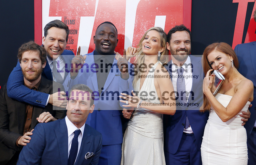 Thomas Middleditch, Jake Johnson, Ed Helms, Annabelle Wallis, Hannibal Buress, Isla Fisher and Jon Hamm at the Los Angeles premiere of 'Tag' held at the Regency Village Theatre in Westwood, USA on June 7, 2018.