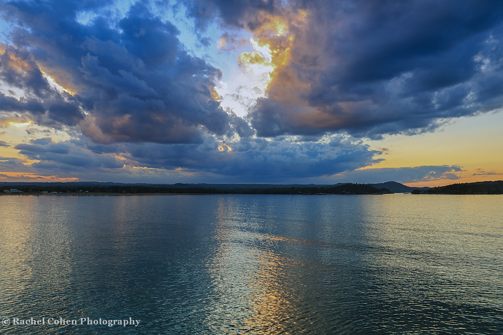 """""""Dream Weavers Blues""""<br /> <br /> For those of you who love a sunset in shades of blue and gold, here's a beautiful one on Lake superior!"""