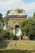 The remains of one of two Moorish style chimneys at Abbey Mills pumping.station which gave the building a mosque-like appearance. They have not been used.since steam power was replaced by electric motors in 1933. They were demolished.during WWII because they were a landmark for German bombers on raids over the.London docks. London, UK, 2003