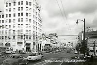 1950 Postcard looking east on Hollywood Blvd. towards Highland Ave.