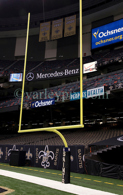 04 October 2011. New Orleans, Louisiana, USA.  <br /> NFL's New Orleans Saints announce a multi million dollar deal with Mercedes-Benz for naming rights on the Louisiana Superdome. Now the Mercedes-Benz Superdome.<br /> Photos; Charlie Varley/varleypix.com