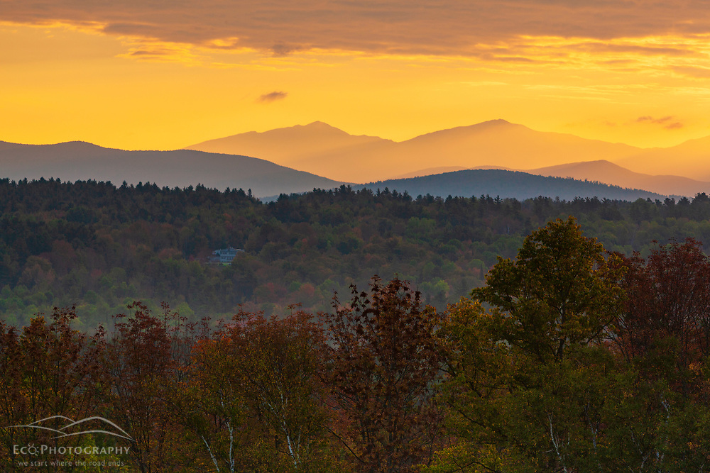 The sun rises over the White Mountains as seen from the Rocks Estate in Bethlehem, New Hampshire.