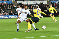 Football - 2018 / 2019 Sky Bet EFL Championship - Swansea City vs. Blackburn Rovers<br /> <br /> Kyle Naughton of Swansea City fouls Amari'i Bell of Blackburn Rovers to concede a penalty, at The Liberty Stadium.<br /> <br /> COLORSPORT/WINSTON BYNORTH