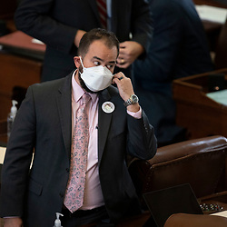 Austin, TX USA March 31, 2021:  State Rep. Joe Moody, D-El Paso, on the floor of the Texas House of Representatives during routine bill readings at the 87th Texas legislative session. Emergency bills include power company regulation, border security and the coronavirus response.