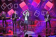 """Auftritt deutschen Musikgruppe «Münchener Freiheit» bei der SRF-Pop-Schlager-Show """"Hello Again"""". Aufzeichnung vom 15. April 2018 in der Bodenseearena Kreuzlingen, Kanton Thurgau."""