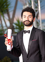 Ely Dagher winner of the  Palme d'or of shorts films - Waves' 98, at the Palm D'Or award winners photo call at the 68th Cannes Film Festival Sunday May 24th 2015, Cannes, France.