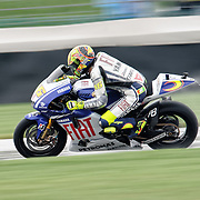 August 8, 2009, Valentino Rossi practices during Free Practice 1 at the Red Bull Indianapolis Grand Prix.