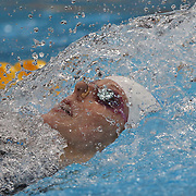 Missy Franklin, USA, in action in the Women's 100m backstroke heats during the swimming heats at the Aquatic Centre at Olympic Park, Stratford during the London 2012 Olympic games. London, UK. 29th July 2012. Photo Tim Clayton