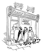 "(A dog waits in a queue outside a butcher's shop with a sign ""Rabbits - anyone served"")"