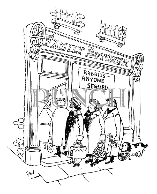 """(A dog waits in a queue outside a butcher's shop with a sign """"Rabbits - anyone served"""")"""