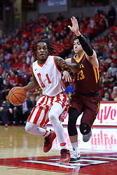 19 February 2017:  Paris Lee(1) drives with defender Clayton Custer in tow during a College MVC (Missouri Valley conference) mens basketball game between the Loyola Ramblers and Illinois State Redbirds in  Redbird Arena, Normal IL