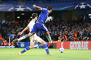 Diego Costa of Chelsea takes a shot for goal. UEFA Champions league group G match, Chelsea v Porto at Stamford Bridge in London on Wednesday 9th December 2015.<br /> pic by John Patrick Fletcher, Andrew Orchard sports photography.