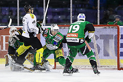 29.01.2013, Hala Tivoli, Ljubljana, SLO, EBEL, HDD Olimpija Ljubljana vs Dornbirner Eishockey Club, 4. Qualifikationsrunde, im Bild Andrew Jacob Kozek (Dornbirner Eishockey Club, #10) vs Jerry Kuhn (HDD Olimpija, #35) and Ziga Grahut (HDD Telemach Olimpija, #11) // during the Erste Bank Icehockey League 4th Qualification Round match between HDD Telemach Olimpija Ljubljana and Dornbirner Eishockey Club at the Hala Tivoli, Ljubljana, Slovenia on 2013/01/29. EXPA Pictures © 2013, PhotoCredit: EXPA/ Sportida/ Matic Klansek Velej..***** ATTENTION - OUT OF SLO *****