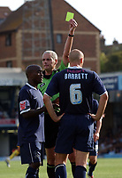 Photo: Olly Greenwood.<br />Southend United v Sheffield Wednesday. Coca Cola Championship. 09/09/2006. Southend United's Adam Barret is booked by referre Mr R Beeby