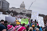 90-100,000 people gathered to protest against the Trump presidency and to stand for women's access to economic opportunity, healthcare, human dignity, and personal safety at the Women's March in St. Paul, MN, Saturday January 21, 2017.