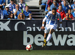 February 24, 2019 - Leganes, Madrid, Spain - En-Nesyri of Leganes in action during La Liga Spanish championship, football match between Leganes and Valencia, February 24th, Butarque stadium, in Leganes, Madrid, Spain. (Credit Image: © AFP7 via ZUMA Wire)