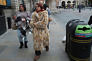 Very furry fur coat in Covent Garden in London, England, United Kingdom.