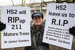 London, UK. 12th January, 2018. A local resident stands holding anti-HS2 placards in Euston Square Gardens. Local residents and environmental campaigners are protesting against the planned felling of mature London Plane, Red Oak, Common Whitebeam, Common Lime and Wild Service trees in Euston Square Gardens to make way for temporary sites for construction vehicles and a displaced taxi rank as part of preparations for the HS2 high-speed rail line.