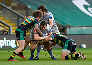 Sale Sharks Coenie Oosthuizen is held during a Gallagher Premiership Round 13 Rugby Union match, Saturday, Mar. 13, 2021, in Northampton, United Kingdom. (Steve Flynn/Image of Sport)