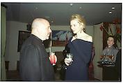 Anthony Minghella and Saffron Aldridge.  Miramax post Bafta's party. Noble Rot. 9 April 2000. © Copyright Photograph by Dafydd Jones 66 Stockwell Park Rd. London SW9 0DA Tel 020 7733 0108 www.dafjones.com