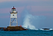 Grand Marais Lighthouse in Winter Storm