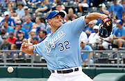 Kansas City Royals pitcher Chris Young throws in the first inning of a baseball game against the Boston Red Sox at Kauffman Stadium in Kansas City, Mo., Sunday, June 21, 2015. (AP Photo/Colin E. Braley)
