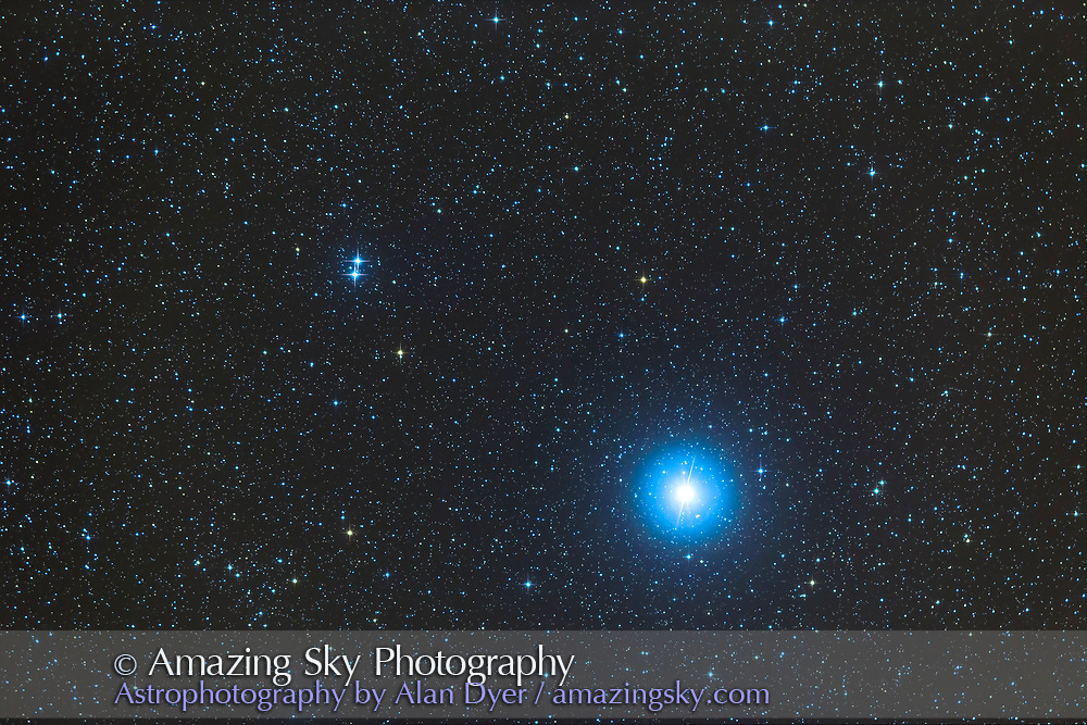 Epsilon Lyrae, at upper left, the Double Double Star, in Lyrae, and near Vega, at right. Taken through some high haze thus the glows around the stars. This is a stack of 8 x 4 minute exposures with the TMB apo refractor at f/4.4 with the Borg 0.85x field flattener/reducer and Canon 6D at ISO 800.
