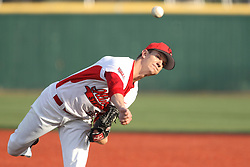 21 April 2015:  Matt Lambert takes the mound to start the game for the Redbirds during an NCAA Inter-Division Baseball game between the Illinois Wesleyan Titans and the Illinois State Redbirds in Duffy Bass Field, Normal IL