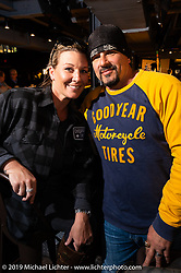 Erin and Billy Lane at the Ace Cafe in Orlando during Daytona Bike Week. FL. USA. Tuesday March 13, 2018. Photography ©2018 Michael Lichter.