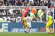 Lopes Anthony of Lyon and Nakoulma Nguimbe of Nantes and Morel Jérémy of Lyon during the French Championship Ligue 1 football match between Olympique Lyonnais and FC Nantes on April 28, 2018 at Groupama Stadium in Décines-Charpieu near Lyon, France - Photo Romain Biard / Isports / ProSportsImages / DPPI