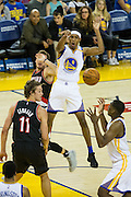 Golden State Warriors guard Patrick McCaw (0) reacts to throwing the ball away against the Portland Trail Blazers at Oracle Arena in Oakland, Calif., on October 21, 2016. (Stan Olszewski/Special to S.F. Examiner)