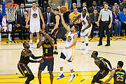 Golden State Warriors guard Stephen Curry (30) shoots a floater against the Atlanta Hawks at Oracle Arena in Oakland, Calif., on November 28, 2016. (Stan Olszewski/Special to S.F. Examiner)