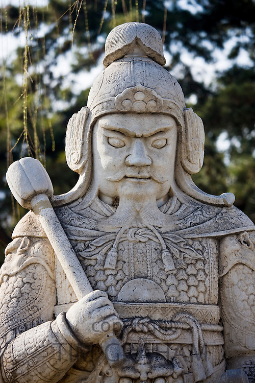 Statue of a military officer on Spirit Way at the Ming Tombs site, Beijing (Peking), China