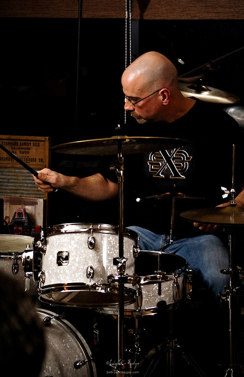 Rich Flamini of The Sea Turtles on drums during a performance at The Bus Stop Music Cafe in Pitman, NJ.