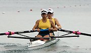 2005 FISA Rowing World Cup Munich, GERMANY. 17.06.2005;.AUS W2- Bow Roybn Selby Smith and Pauline Frasca, move away from the start, in their morning heat, on the opening day of the regatta. Photo Peter Spurrier.email images@intersport-images...[Mandatory Credit Peter Spurrier/ Intersport Images] Rowing Course, Olympic Regatta Rowing Course, Munich, GERMANY