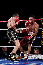 Scott Quigg catches Franklin Varela with a body shot which finishes the fight.