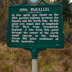 45th Parallel sign in Sterwartstown, New Hampshire.