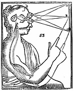 Descartes' idea of vision, showing passage of nervous impulse from the eye to the pineal gland and so to the muscles. From Rene Descartes' 'Opera Philosophica', 1692 (Tractatus de homine). Woodcut