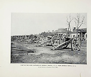 """PART OF THE GUNS CAPTURED BY GENERAL THOMAS, U. S. A., FROM GENERAL HOOD, C. S. A At the Battle of Nashville, Tenn., 1864. from The American Civil War book and Grant album : """"art immortelles"""" : a portfolio of half-tone reproductions from rare and costly photographs designed to perpetuate the memory of General Ulysses S. Grant, depicting scenes and incidents in connection with the Civil War Published  in Boston and New York by W. H. Allen in 1894"""