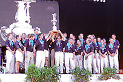 Team New Zealand, and the New Zealand fans celebrate the winning of the America's Cup. 2000