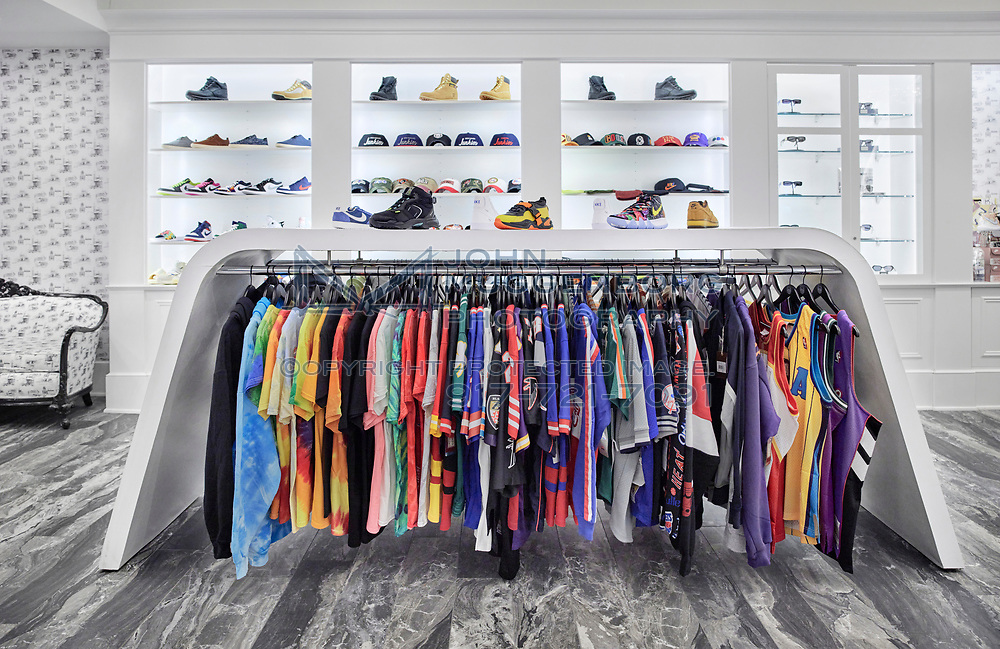 Sneaker Junkies retail store in New Haven, CT. Designed by Pirie Associates and photographed by John Muggenborg.<br /> <br /> http://www.johnmuggenborg.com
