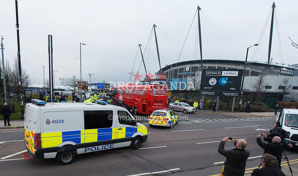 MANCHESTER, ENGLAND - Tuesday, April 10, 2018: The Liverpool team bus arrives at the Stadium before the UEFA Champions League Quarter-Final 2nd Leg match between Manchester City FC and Liverpool FC at the City of Manchester Stadium. (Pic by Peter Powell/Propaganda)